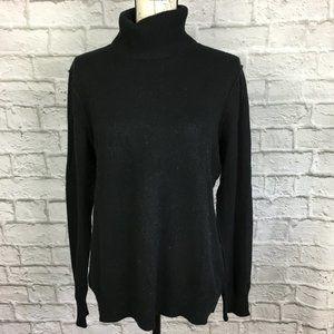 Aqua Cashmere Black Turtleneck Sweater Size L